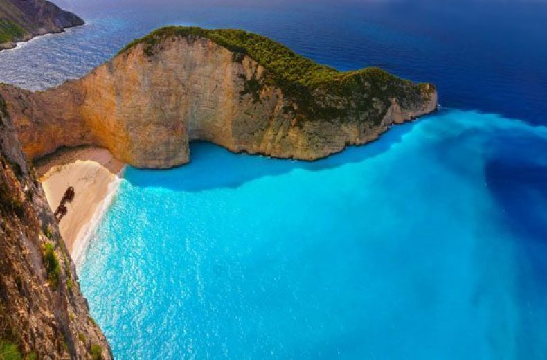 Navagio beach bay