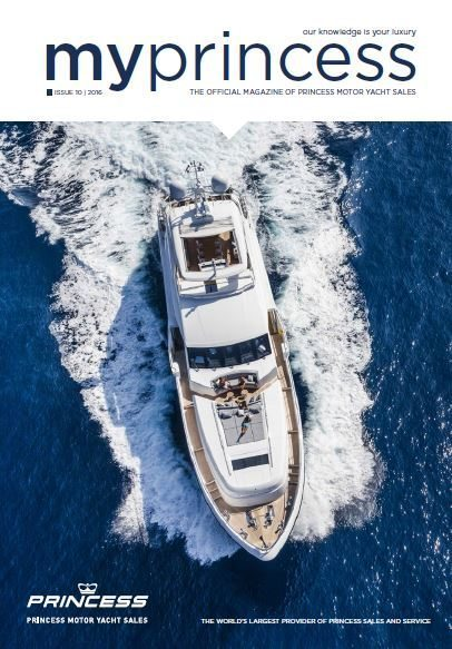 Princess Motor Yacht Sales MyPrincess Magazin Cover Luxury Mega Yacht on the Water 2016