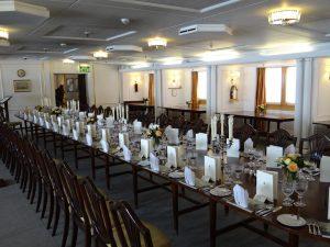 Dining room on royal yacht Britannia